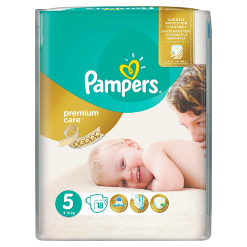 Scutece Premium Care, Marimea 5 Junior, 18 buc, 11 - 18 kg, Pampers