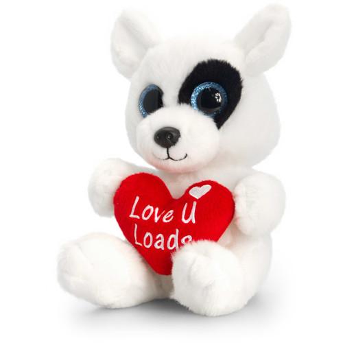 Animalut de Plus Alb Sparkle Eyes cu Inimoara 20 cm , Keel Toys