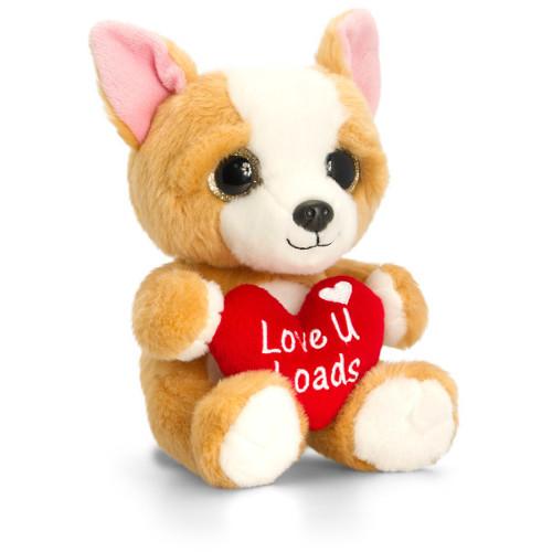 Animalut de Plus Crem Sparkle Eyes cu Inimoara 20 cm , Keel Toys