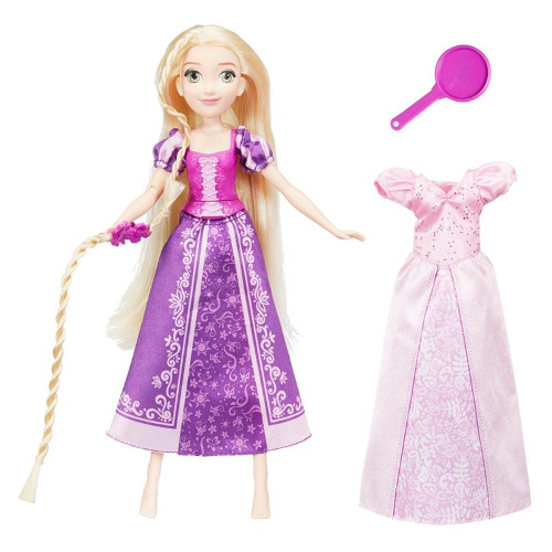 Papusa Disney Princess Rapunzel cu Mecanism de Rotire a Mainii cu Par Lung si Tigaie, Hasbro