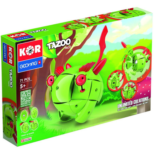 Set Constructie Magnetic Kor Tazoo Paco, 71 piese, Geomag