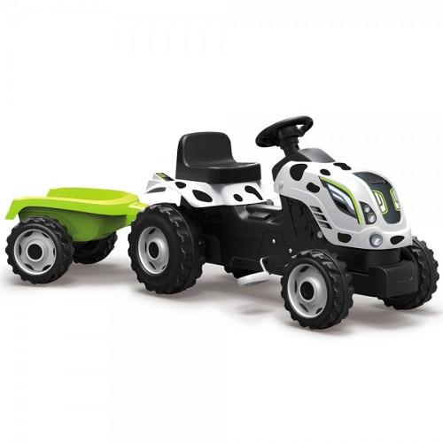 Tractor cu Pedale si Remorca Farmer XL Alb Negru, Smoby