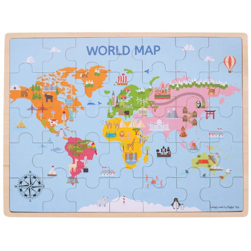 Puzzle din Lemn - Harta Lumii 35 piese, Bigjigs