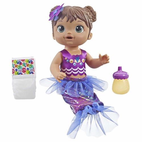 Papusa Bebelus Fetita Bruneta Baby Alive Sirena, Hasbro