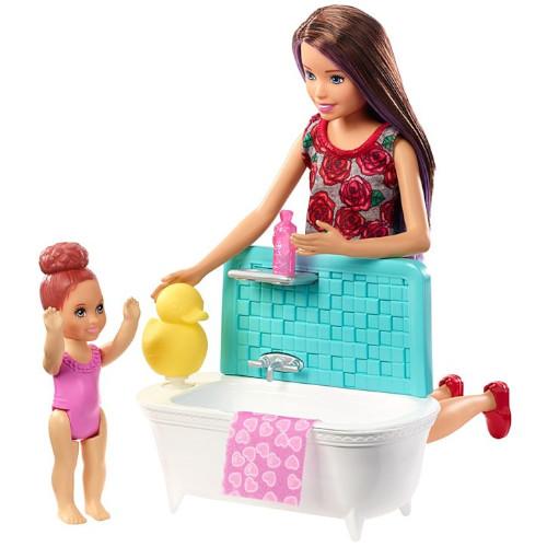 Set de Joaca Barbie Babysitters cu Cadita, Prosopel si Copil, Mattel