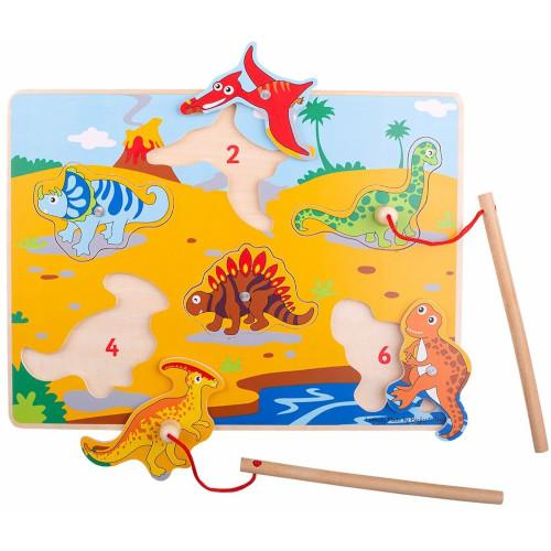 Joc de Pescuit Magnetic - Dinozaurii fiorosi, Bigjigs