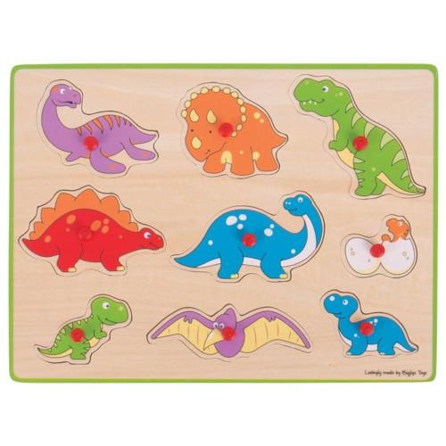 Puzzle din Lemn Incastru - Dinozauri, Bigjigs