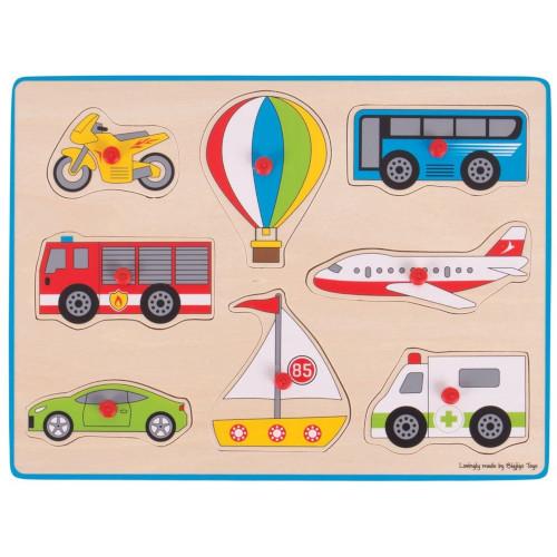 Puzzle din Lemn Incastru - Vehicule, Bigjigs
