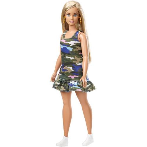 Papusa Barbie Fashionista Plinuta in Rochita cu Imprimeu Camuflaj, Mattel