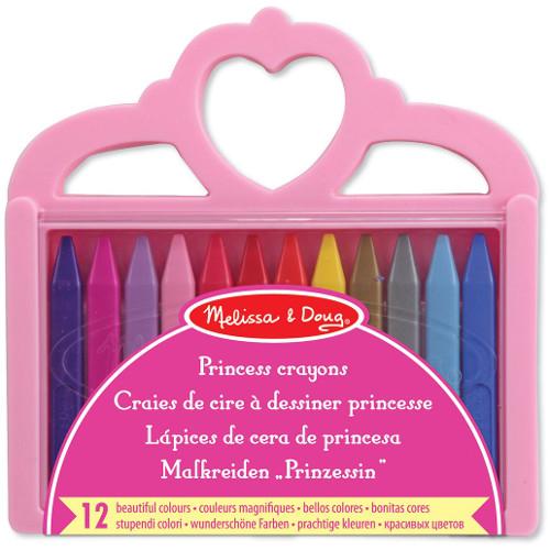 Set 12 Creioane Colorate Triunghiulare Princess, Melissa & Doug