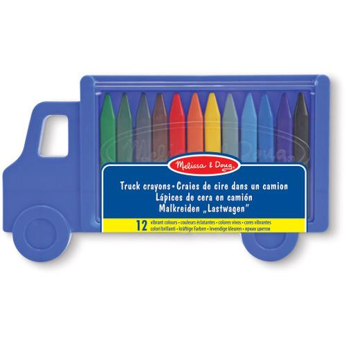 Set 12 Creioane Colorate Triunghiulare Truck, Melissa & Doug
