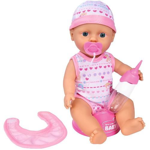 Papusa New Born Baby 30 cm Bebe Darling cu Olita si Bavetica, Simba