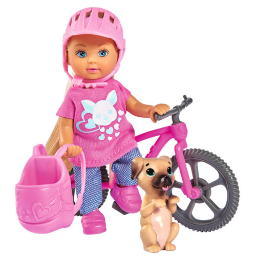 Papusa  Evi Love 12 cm Holiday Bike cu Bicicleta si Catelus, Simba