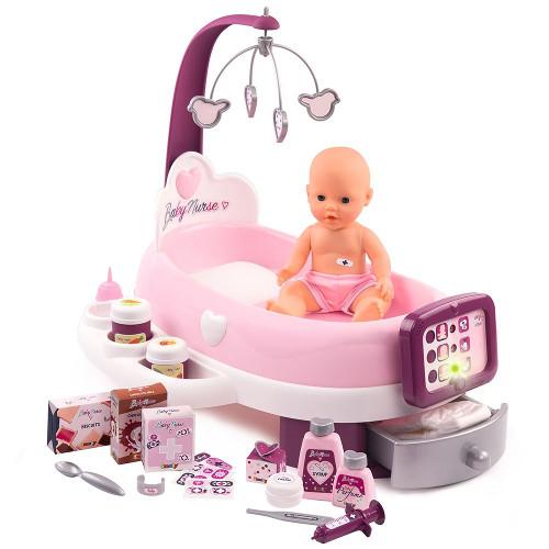 Set Cadita si Accesorii pentru Papusi Baby Nurse Nursery Mov, Smoby