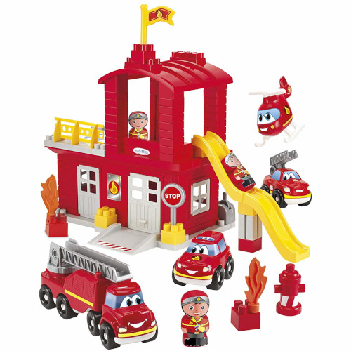 Joc de Construit Statie de Pompieri cu Tobogan Abrick, Ecoiffier
