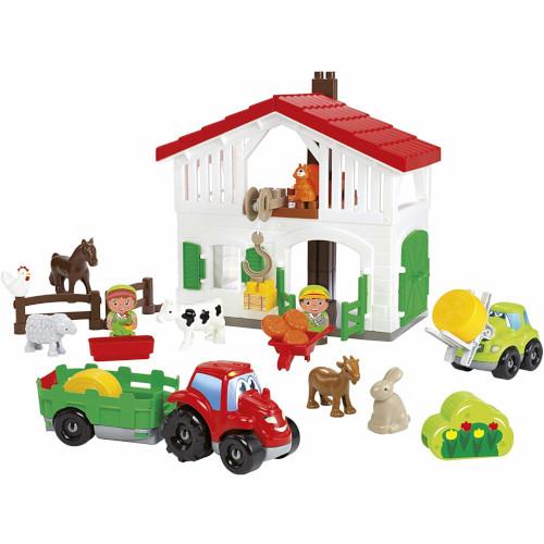 Set Cuburi de Construit Ferma cu Tractor si Animale Abrick, Ecoiffier