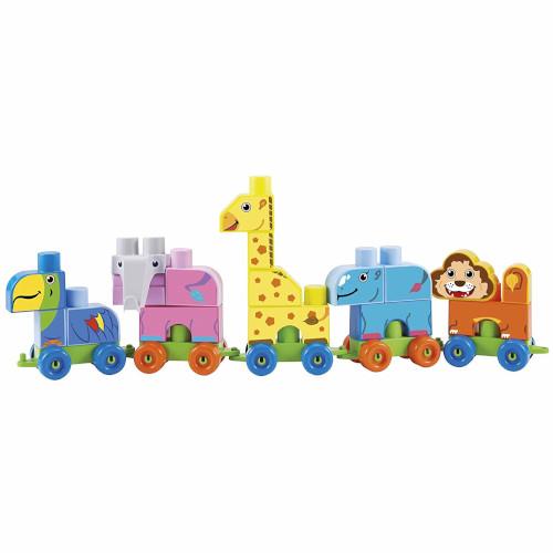 Set de Construit Maxi Cuburi Colorate cu Tren si Animale de la Zoo Abrick, Ecoiffier