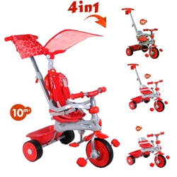 Baby Trike - Tricicleta Baby Trike 4 in 1 Deluxe Red.