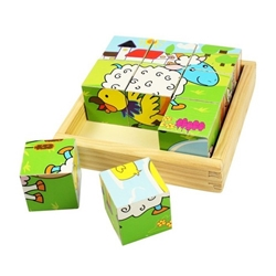 Bigjigs -  Puzzle Cubic - Animale Domestice