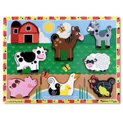 Melissa and Doug - Puzzle Lemn in Relief - Animale de Ferma