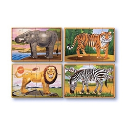 Melissa and Doug - Set 4 Puzzle din Lemn in Cutie - Animale Salbatice