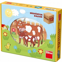 Dino Toys - Puzzle Cubic Animale Domestice 12 Piese
