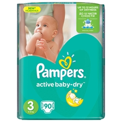 Pampers - Scutece Active Baby-Dry, Marimea 4, 76 buc, 7 - 14 kg