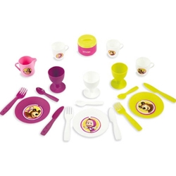 Smoby - Cos Picnic Masha and The Bear si Set Vesela cu 21 Accesorii