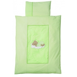 Easy Baby - 	 Lenjerie de Pat Sleeping Bear Green 100 x 135 cm