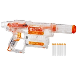Hasbro - Blaster Transparent Nerf Modulus Ghost Ops Shadow ICS-6 cu 6 Proiectile
