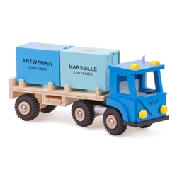 New Classic Toys - Camion din Lemn cu 2 Containere