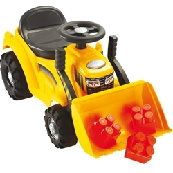 Ecoiffier - Buldozer Ride-On cu Incarcator Frontal si 6 Cuburi de Construit