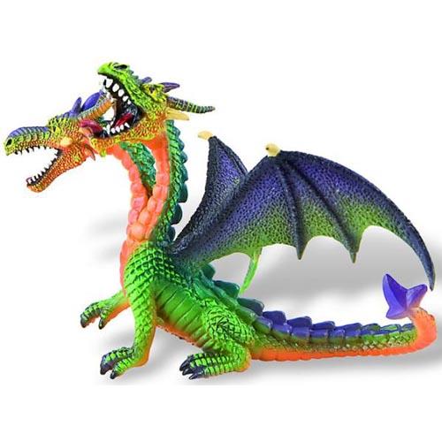 Figurina Dragon Verde Cu 2 Capete