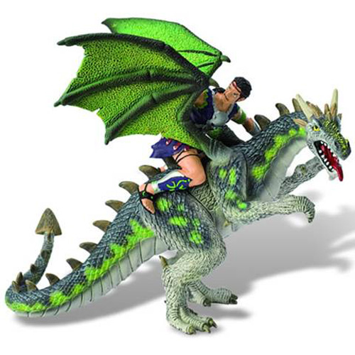 Figurina Luptator pe Dragon Verde