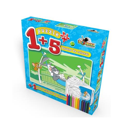 Puzzle 1+5 Coloreaza-ma Tom in Hamac 24 piese