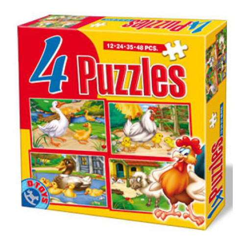4 Puzzle Maxi Animale (12,24,35,48 piese)