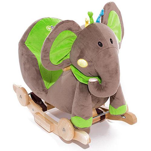 Balansoar 2 in 1 cu Roti si Sunete Elephant Green