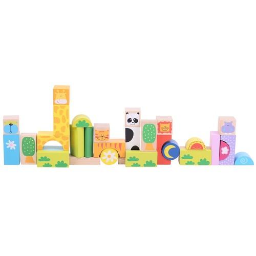 Bigjigs Cuburi Colorate Pentru Construit – Safari