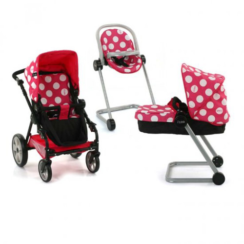 Set Carucior Papusi Icoo Grow With Me Dotty Pink