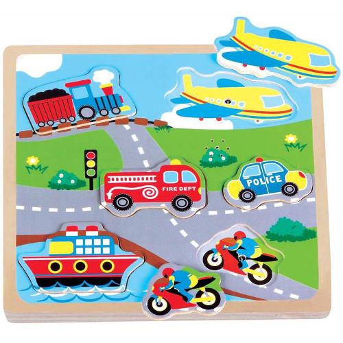 New Classic Toys Puzzle Transport cu Sunete