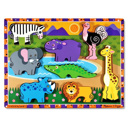 Melissa  Doug Puzzle Lemn in Relief Safari