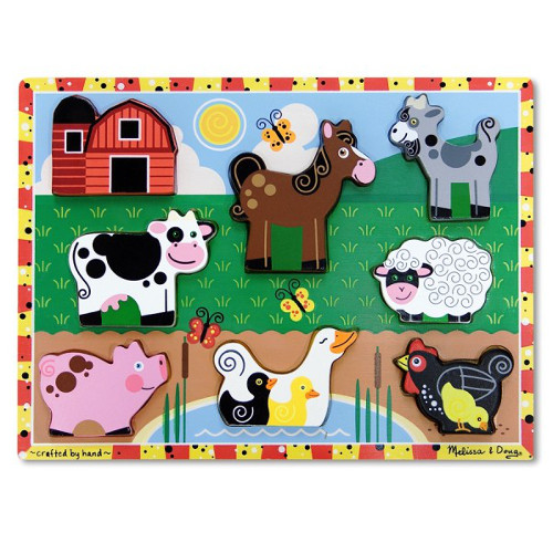 Melissa and Doug Puzzle de Lemn in Relief – Animale de Ferma