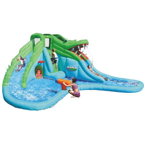 Happy Hop Saltea Gonflabila Crocodil cu Tobogane cu Apa