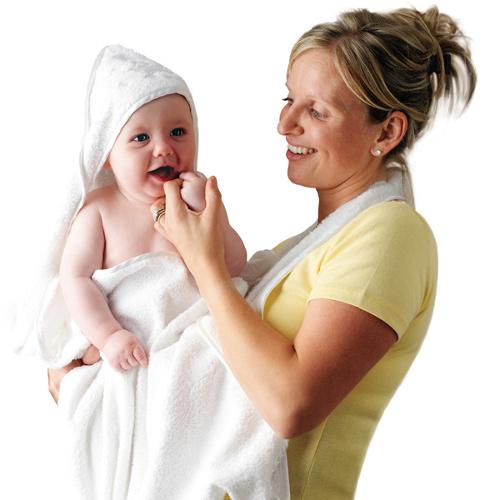 Prosop de Baie pentru Bebelus si Mama Alb Cloned