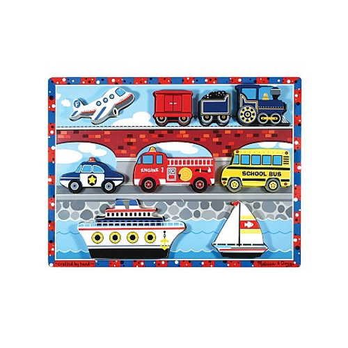 Melissa and Doug Puzzle de Lemn in Relief Mijloace de Transport