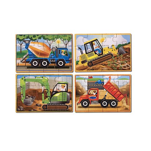 Melissa and Doug Set 4 puzzle din Lemn in Cutie – Vehicule pentru Constructii