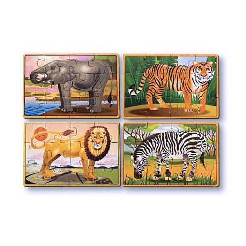 Melissa and Doug Set 4 Puzzle din Lemn in Cutie – Animale Salbatice