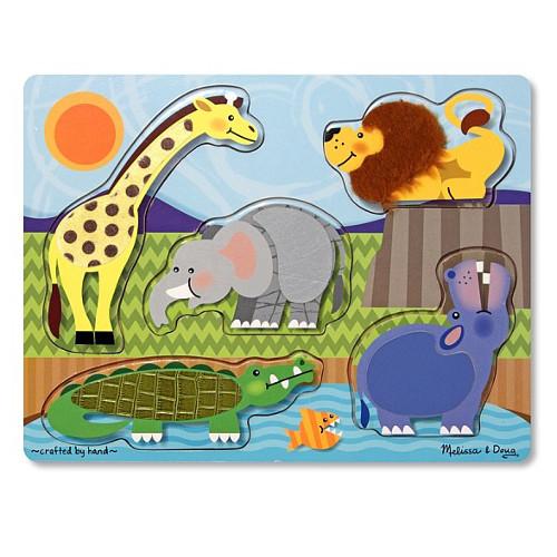 Melissa and Doug Puzzle Lemn Atinge si Descopera Animale Zoo