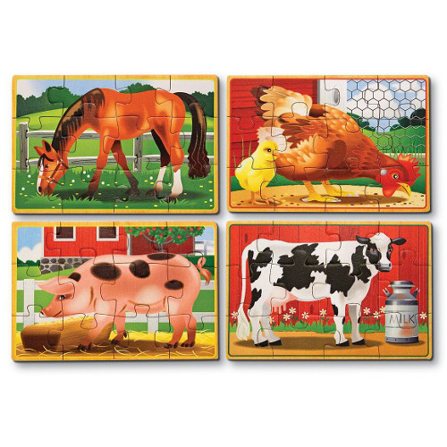 Melissa and Doug Set 4 Puzzle Lemn in Cutie – Animale Domestice