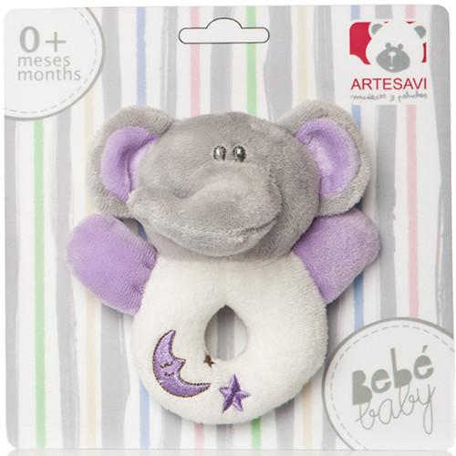 Plus Bebe Elefantel 12 cm cu Inel de Dentitie si Zornaitoare